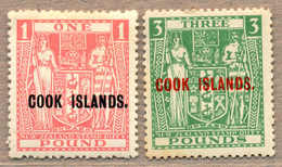 * 1943-45, £ 1 And 3, Pink And Green, LPOG/MH, With Black/red Opt COOK ISLANDS, £ 3 With Inv. Wmk, Fresh And Attractive, - Neuseeland