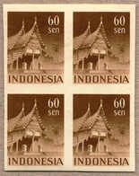 **/bof 1949, 60 S., Chocolate, Block Of (4), Imperforated Proof, Fresh, MNH, XF!. Estimate 1.200€. - Indonesien