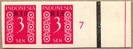 (*) 1950, 3 S., Crimson, Pair From Right Margin Side, Number 7, RIS Opt, Imperforated, NG As Produced, From The Archive  - Indonesien