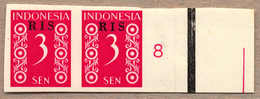 (*) 1950, 3 S., Crimson, Pair From Right Margin Side, Number 8, RIS Opt, Imperforated, NG As Produced, From The Archive  - Indonesien
