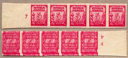 (*) 1951-55, 5 S., Carmine, Strip Of (5) From Left Margin Side, Number 7, With IMPRESSIVE Reverse Double Print Inverted  - Indonesien
