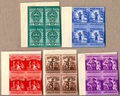 (*) 1955, 15 S. + 10 S., - 1 R. + 50 S., Five Blocks Of (4) From Top Left Margin/corner, Imperforated, NG As Produced, F - Indonesien