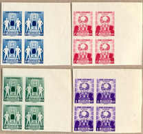 Bof/(*) 1957, 10 S. - 1 R., Four Blocks Of (4) From Top Right Margin Corner, Imperforated, NG As Produced, From The Arch - Indonesien