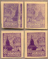 (*) 1946-47, 80 S., Dull Violet, Set Of (2), Imperforated, Unissued, Both With VERY Clear Offset, One Bearing A Vertical - Indonesien
