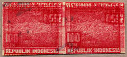 Pair/(*) 1947, 100 S. / 150 S., Red, Imperforated, Pair, Proof On Test Paper, 3x Overprint (1x 100 S., 2x 150 S. Inverte - Indonesien