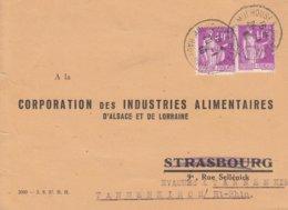 CP Affr Y&T 281 X 2 Obl MULHOUSE R. DE FRANCE Du 20.1.40 Adressée à Strasbourg évacuée à Thannenkirch - Alsace Lorraine