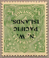 * 1919, 1/2 D., Green, MH, Opt. N.W. PACIFIC ISLANDS. On Australian Stamp, INVERTED Wmk., Well Centred And Fresh, F-VF!. - Papua-Neuguinea