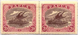 */pair 1916, 2 D., Brown-purple And Brown-lake, Pair, Broken Ornament At Bottom Right, Pos. 11, MH, F - VF!. Estimate 20 - Papua-Neuguinea