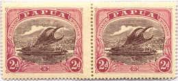 "*/pair 1916, 2 D., Brown-purple And Brown-lake, Pair, Broken Tip Above ""U"" Of ""PAPUA"" In Pos. 36, MH, VF!. Estimate 200€ - Papua-Neuguinea"