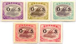 * 1931, 9 D. - 2 Sh. 6 D., Set Of (5), OS Overprint, MH, VF - XF!. Estimate 200€. - Papua-Neuguinea