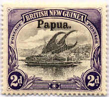 * 2 D., Black And Violet, White Leaves At Left, MH, F!. Estimate 200€. - Papua-Neuguinea