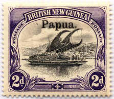 * 1906, 2 D., Black And Violet, White Leaves At Right, MH, F - VF!. Estimate 200€. - Papua-Neuguinea