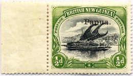 * 1907, 1/2 D., Black And Yellow Green, Left Margin Copy, VF!. Estimate 110€. - Papua-Neuguinea