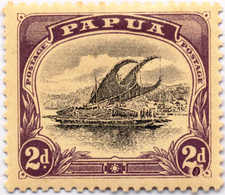 * 1907-10, 2 D., Black And Purple, Inverted Wmk., Flaw In 2 D. At Right, MH, VF!. Estimate 300€. - Papua-Neuguinea
