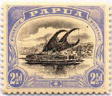 * 1907-10, 2 1/2 D., Black And Bright Ultramarine, Bird In The Sky At Top Right, Pos. 2, White Leaves At Right, Inverted - Papua-Neuguinea