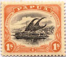 * 1907-10, 1 Sh., Black And Orange, Bird In The Sky At Top Right, Pos. 20, MH, XF!. Estimate 300€. - Papua-Neuguinea