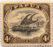 "* 1907-10, 4 D., Black And Sepia, Deformed ""d"" At Left, Inverted Wmk., Rare, MH, VF!. Estimate 400€. - Papua-Neuguinea"
