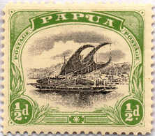 """* 1907-10, 1/2 D., Black And Yellow Green, Apostrophe Between """"P"""" And """"U"""", Rare, MH, VF - XF!. Estimate 400€. - Papua-Neuguinea"""