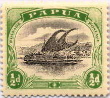 """* 1907-10, 1/2 D., Black And Yellow Green, Thick """"d"""" At Right, Small Letters Of """"PAPUA"""", MH, VF - XF! Estimate 250€. - Papua-Neuguinea"""