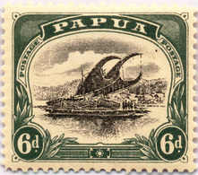* 1907-10, 6 D., Black And Myrtle Green, Bird In The Sky Top Right, Pos. 20, MH, VF - XF!. Estimate 200€. - Papua-Neuguinea
