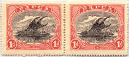 Pair 1916, 1 D., Pair, Black And Carmine-red, Substituted Cliche, Left Stamp - Bottom Ornament Retouched, Right Stamp -  - Papua-Neuguinea