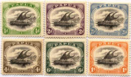 * 1907-10, 1/2 D. - 1 Sh., Lot Of (6), All With Flaw Black Rock At Hill, Pos. 11, MH, F - XF!. Estimate 600€. - Papua-Neuguinea