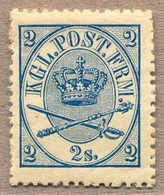1867, 2 S., Blue, LPOG, With Some Paperstructure On Reverse, Origin Thus, Unique Preserved Colour With Intense And Rich  - Denemarken