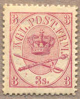 1869, 3 S., Lilac Rose, LPOG, With Some Paperstructure On Reverse, Origin Thus, Unique Preserved Colour With Intense And - Denemarken