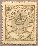 1864, 16 S., Greenish Grey, LPOG, With Some Paperstructure On Reverse, Origin Thus, Unique Preserved Colour With Intense - Denemarken