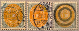 1895-1905, 100 öre. Dull Light Orange/grey, Lot Of (3), Different Colour Nuances, With Cancel, Middle Stamp Missing Oute - Denemarken