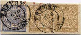 "1868, 2 Gr., 5 Gr., (3) Auf Briefstück, Gestempelt ""ERFURT"", Buntfrankatur, F - VF!. Estimate 120€. - Zonder Classificatie"