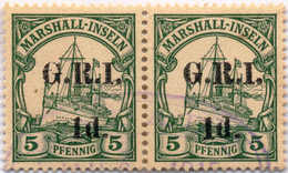 """1914, 1 D. On 5 Pf., Green (5 Mm Spacing), Pair, # 51e - Right Stamp (1 And D Spaced), Part Cancel """"RABAUL"""" Oval D.s. """" - Zonder Classificatie"""