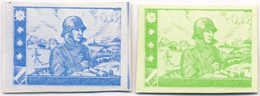 1944/45, 0,25 M., Blue, Green, (2), SS - Division Proofs, Extremely Rare, NG, VF!. Estimate 900€. - Zonder Classificatie
