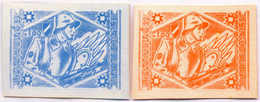 1944/45, 1,00 M., Blue, Red, (2), SS - Division Proofs, Extremely Rare, NG, VF!. Estimate 900€. - Zonder Classificatie
