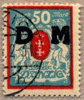 1922, 50 M, (lebhaft)rot/mittelgrünlichblau, Wz 3 X, Teilstempel DANZIG, VF!. Estimate 700€. - Zonder Classificatie