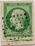 1854, 15 C., Green/grennish Paper, Rhomboid Cancel, Good To Close Margins, On Piece, F - VF!. Estimate 300€. - Zonder Classificatie