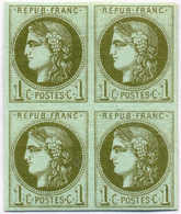 1870, 1 C., Olive On Bluish Paper, Block Of (4), 2 MH, 2 MNH, Signed Brun, VF!. Estimate 1.800€. - Frankrijk