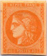 1870, 40 C., Orange, Good Margins, Rich Colour, Signed Brun, VF!. Estimate 650€. - Frankrijk