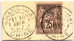 1878/80, 25 C., Black/red, Non Colonial Stamp Used In SHANGHAI, No Overprint (!), On Piece, Rare, VF!. Estimate 300€. - China (1894-1922)