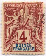 """1892, 4 C., Brown, Opt. Variety Of Country """"8UINEE"""", Used, VF!. Estimate 200€. - Frankrijk (oude Kolonies En Protectoraten)"""