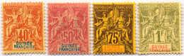 1892, 40 C. - 1 F., Lot Of (4), MH, F - VF!. Estimate 300€. - Frankrijk (oude Kolonies En Protectoraten)