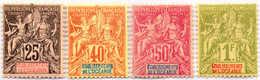 1892, 25 C. - 1 F., Lot Of (4), MH, VF!. Estimate 270€. - Frankrijk (oude Kolonies En Protectoraten)