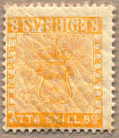 1885, 8 Skill B:co, Yellow, Reprint E4, Perf. 13, From The Royal Swedish Postal Archives, MH, VF!. Estimate 280€. - Unclassified