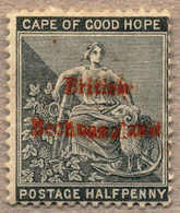 1885, 1/2 D., Grey Black, LAKE Opt., NG, Fresh And Attractive, F!. Estimate 2.000€. - Bechuanaland (...-1966)