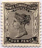 1869, 4 D., Black, Perf. 11 3/4, XF!. Estimate 380€. - Prince Edward Island