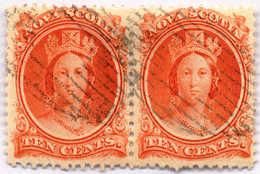 1860/63, 10 C., Vermillion, Pair, Used, F - VF!. Estimate 120€. - Canada