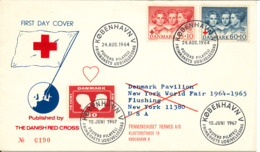 Denmark RED CROSS Cover With 2 Different FDC Cancels 24-8-1964 And 10-6-1967 New York World Fair 1964 - 65 With Cachet - Rotes Kreuz
