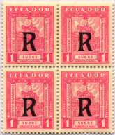 1929, 1 S., Rose, Block Of (4), SCADTA, MNH, VF!. Estimate 400€. - Ecuador