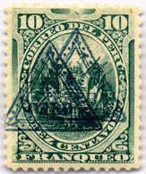 1883, 1 C., Green, Double Triangle Overprint, MH,XF!. Estimate 150€. - Peru