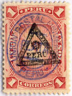 1883, 1 S., Rose, Blue PERU Double Overprint, Triangle 1, Very Rare,NG,VF!. Estimate 1.500€. - Peru